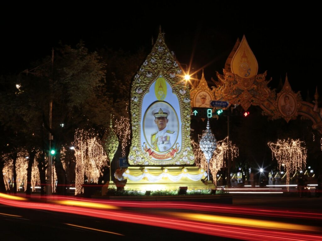 Bangkok landmarks are lit up and decorated to celebrate His Majesty King Maha Vajiralongkorn's 66th birthday on Saturday, July 28.