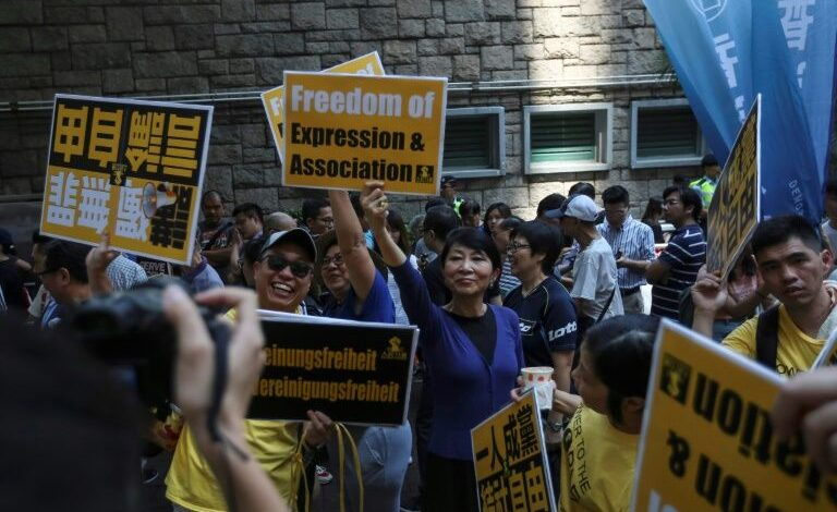 Hundreds protest in Hong Kong against attempt to ban pro-independence party