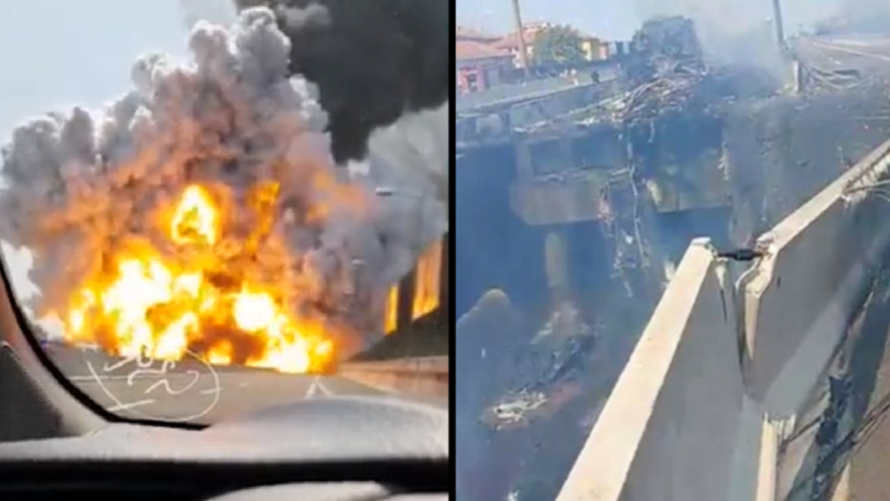 Motorway Collapses After Fuel Tanker Explodes Into A Massive Fireball