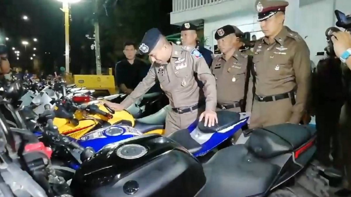 106 motorcyclists arrested in Samut Prakan with illegally modified bikes