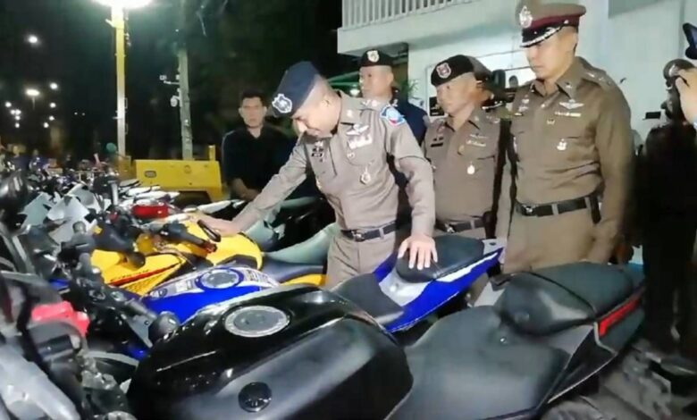 Illegally Modified Bikes: 106 motorcyclists arrested in Samut Prakan with