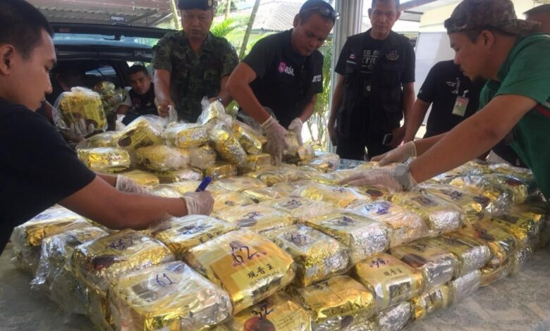 300kg of ice seized in Nakhon Si Thammarat. Around 300kg of crystal meth was sent back at the Malaysian border and seized in Nakhon