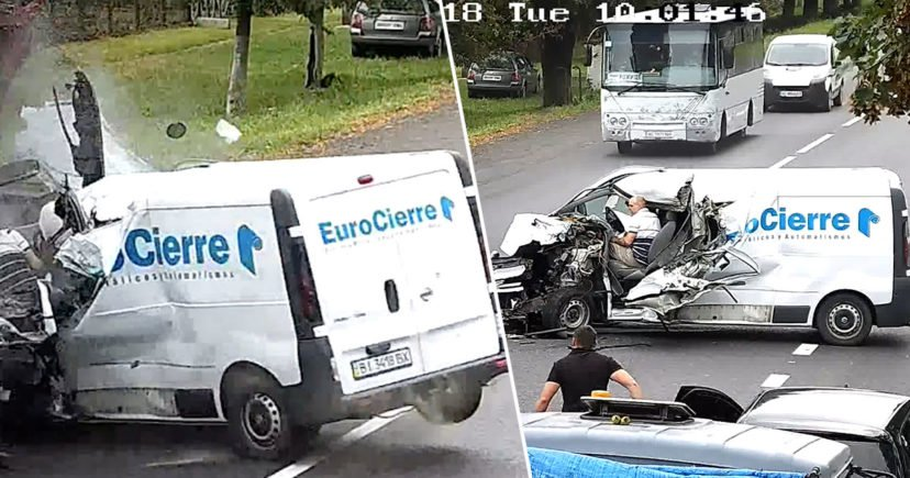 Driver Escapes Death After 'Falling Asleep' At The Wheel And Crashing Into Truck