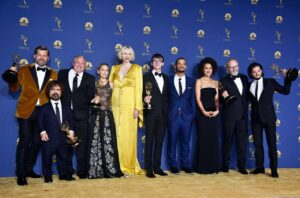 """'Game of Thrones' takes top prize at surprising Emmys. HBO's record-breaking fantasy epic """"Game of Thrones"""" stormed back onto the Emmys stage"""