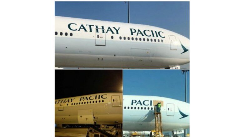 "Hong Kong airline Cathay Pacific tickled by bad spelling. If you see an airplane with the livery ""Cathay Paciic"" on its fuselage, don't worry, it"