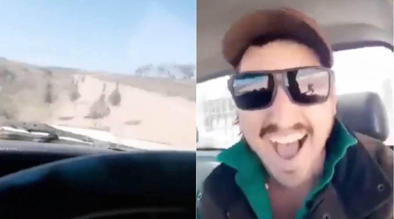 Hunt on for Australian driver seen mowing down emus. Sickening footage showing a man laughing as he mows down emus with his car has been