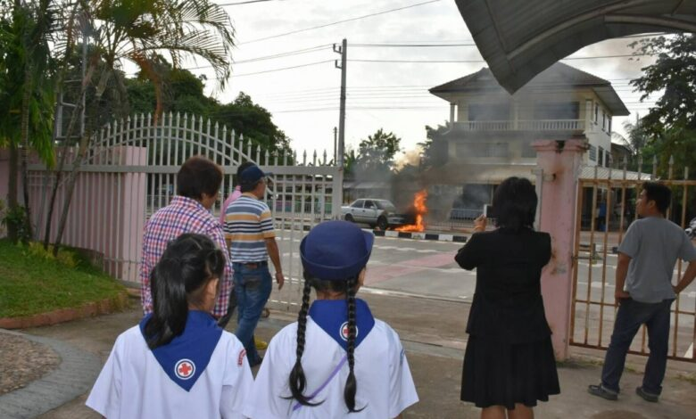 Dad smells petrol, gets kids out of car before fire erupts. A father and three children had a narrow escape when their car caught on fire while he drove
