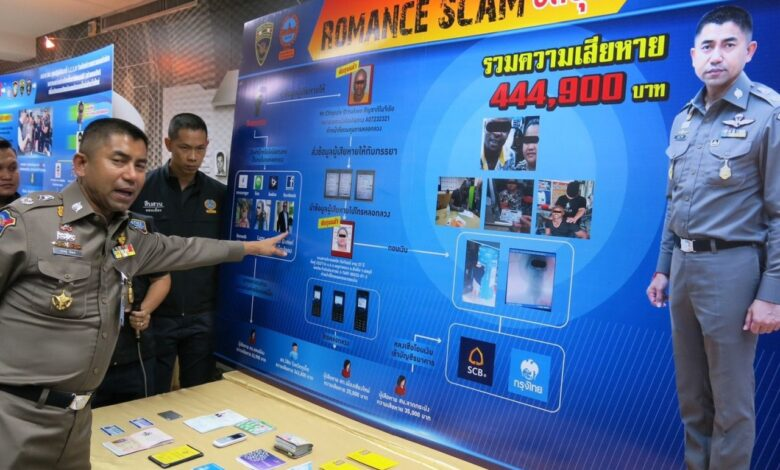 Nigerian man, Thai woman held over 'romance' scam. Police have arrested a Thai woman and a Nigerian man for having allegedly deceived at least