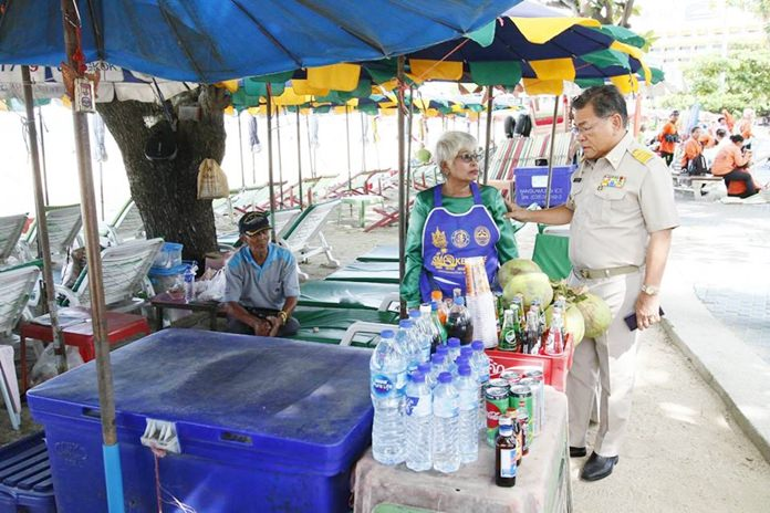 Pattaya beach vendors warned over smoking, litter. Beach vendors were called on the carpet over their continued refusal to follow regulations on