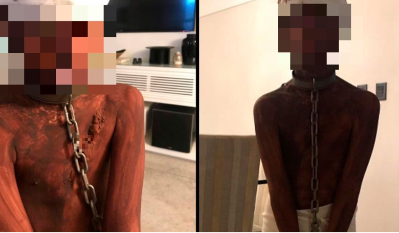 'Racist' Mum Dresses Up Son As A Whipped Slave For Halloween. A mum has been branded a 'racist' after photos of her son's controversial Halloween