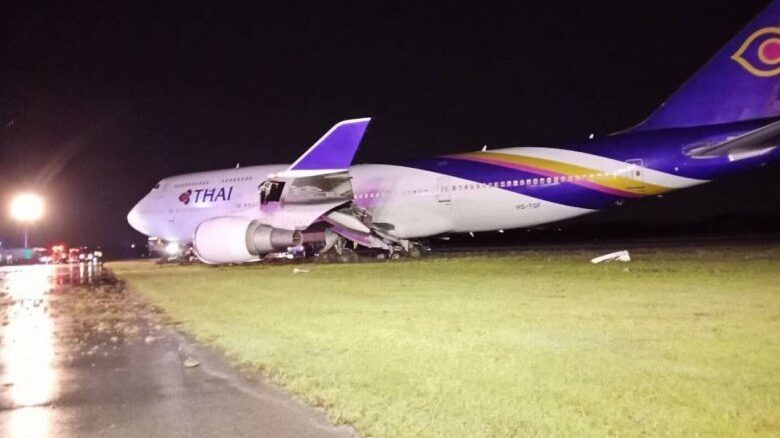THAI 'jumbo' flight TG 679 skids off Suvarnabhumi runway while landing
