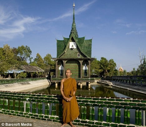 This Thai Temple Was Built Using 1.5 Million Beer Bottles. The resident Buddhist monks at the Wat Pa Maha Chedi Kaew complex encourage local authorities