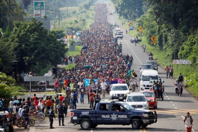 Thousands of immigrants to test Trump's border policy. A U.S.-bound caravan of thousands of mostly Honduran migrants began moving into