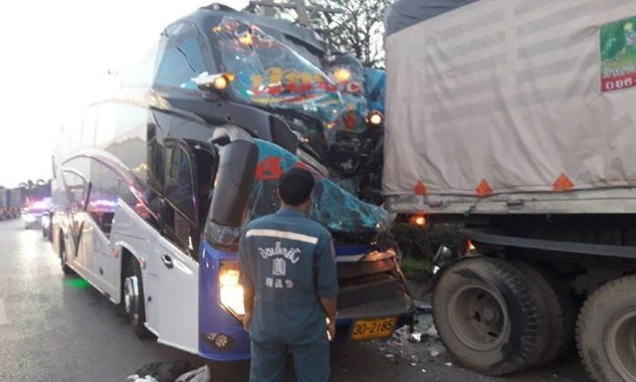 Tour bus driver falls asleep, many casualties. A tour bus driver who had taken a group of people to make merit at a temple admitted to