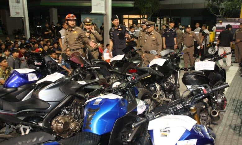 134 arrested, 120 illegally-modified motorcycles seized in Bangkok. Bangkok police stopped and seized 120 illegally-modified motorcycles