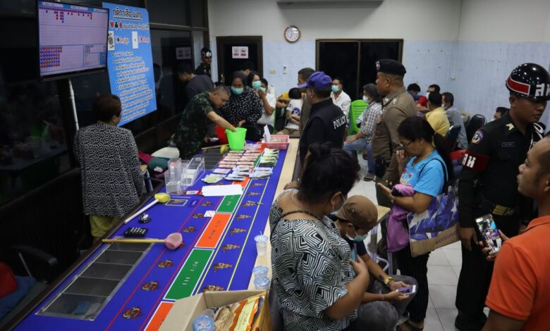 56 gamblers arrested after Phuket raid. Soldiers raided a gambling den in Kathu on Tuesday night. More than 56 gamblers were arrested.
