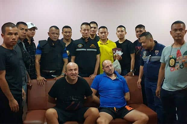 Brothers wanted in UK for drugdealing caught in Chon Buri. CHON BURI: Two British brothers wanted for drug trafficking intheir home country