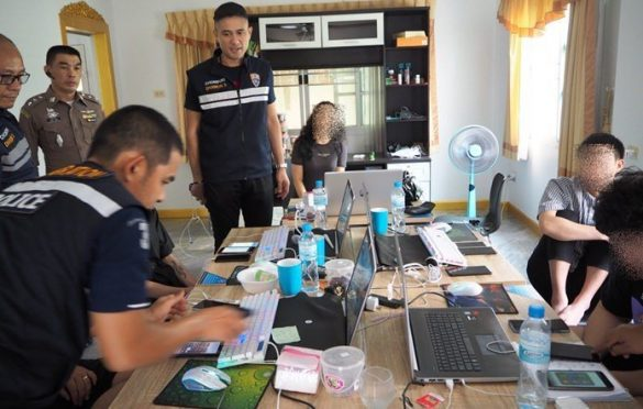 Chinese loan-shark call center raided in Pattaya. Pattaya immigration police arrested 13 Chinese nationals on charges of working without a permit in a loan-