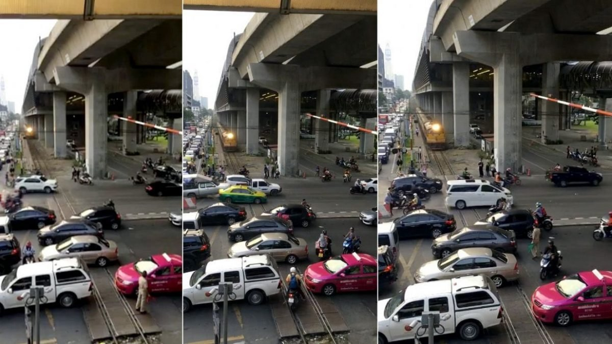 Clip of train caught in notorious Bangkok traffic goes viral