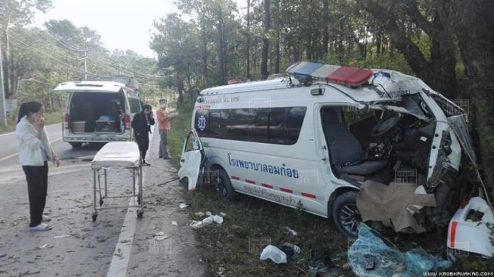 Nurse, motorcyclist killed as ambulance and bike collide in Chiang Mai. A nurse and a young motorcyclist were killed when an ambulance