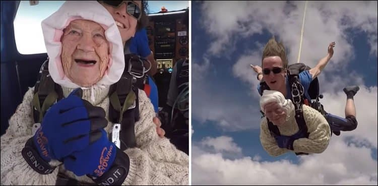 102-year-old great-granny becomes 'oldest' skydiver. A 102-year-old great-grandmother is believed to have become the world's