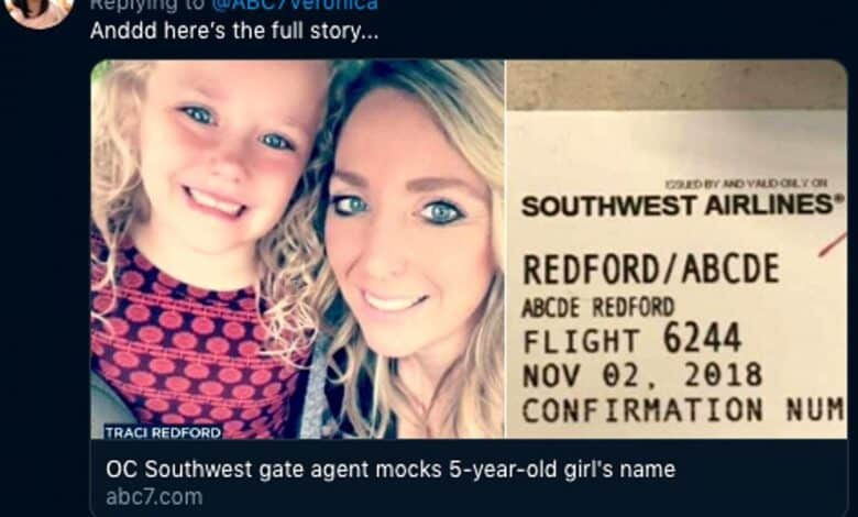 Airline staff mock young girl over her name – Abcde. A furious mother has accused an airline of mocking her five-year-old daughter for her