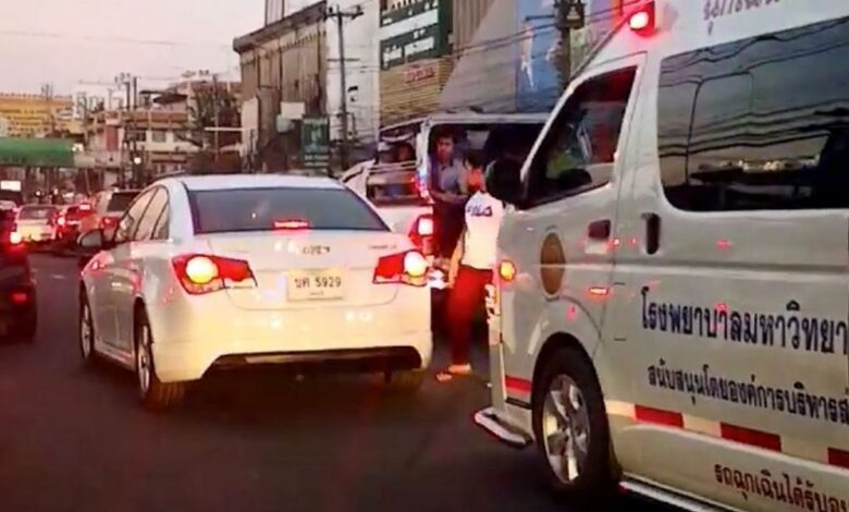 Car driver gets slammed online for ambulance blocking. Residents from a next door four-storey apartment building have been evacuated as a result
