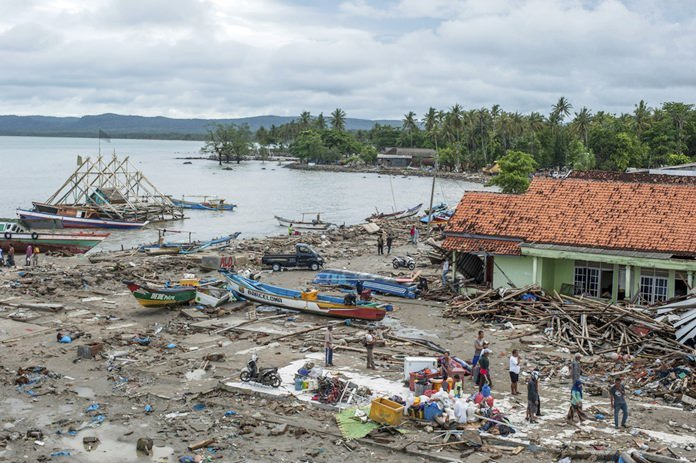 Death toll climbs past 370 in Indonesian tsunami disaster. Body bags were laid out along the shattered coastline as Indonesian authorities stepped