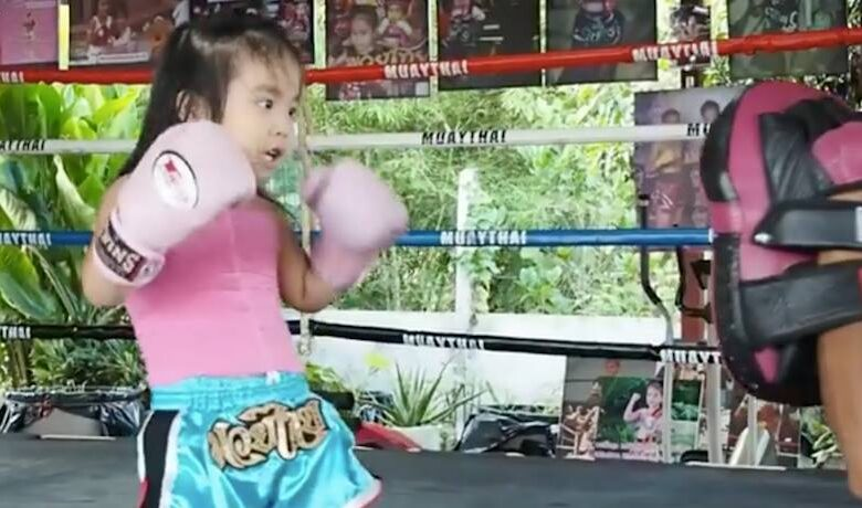 This little girl may seem young and small, but she's a tiny Muay Thai master. Boys like messing with the girl they have a crush on, but in this case, I