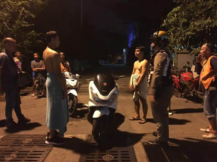 Two Thai Tourists out for a late night nude swim in Pattaya Bay get robbed
