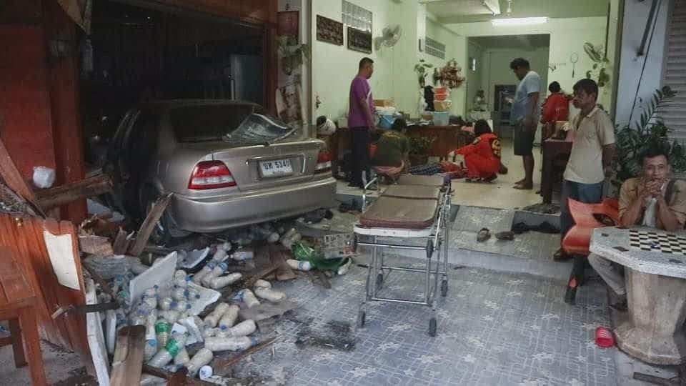 Two injured as car barrels into Tak food shop. The couple running a roadside food shop in Tak's Mae Sot district were injured