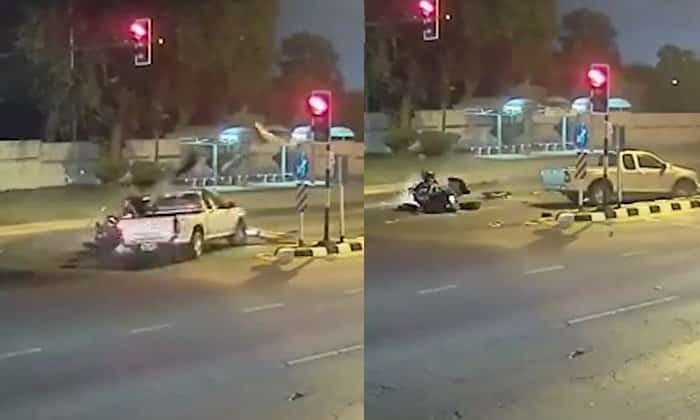 Video: Fatal Harley Davidson crash in Pattaya. CCTV footage showed a Harley Davidson driven at great speed into a pick-up that wascompleting a U-turn. Both