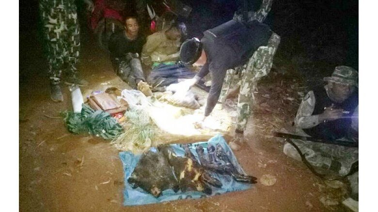 Alleged poachers with wild boar flesh arrested. Kanchanaburi -Sri Nakharindra Dam National Park rangers on Saturday nabbed two alleged poachers with a sack