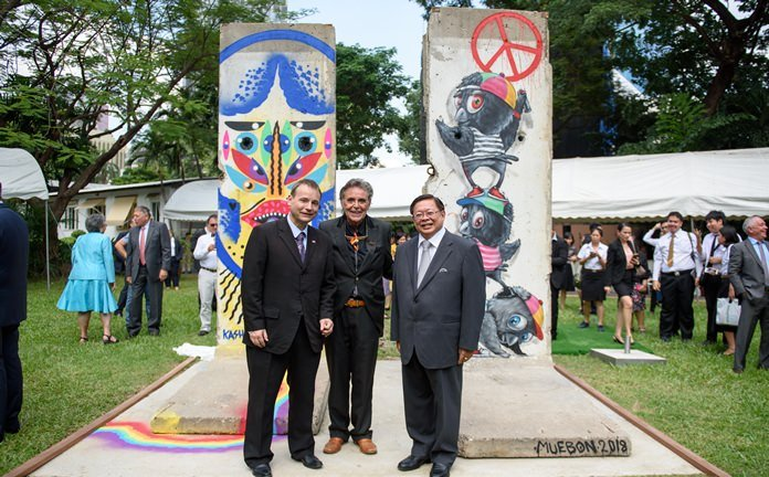 Berlin Wall remnants placed at German Embassy, Bangkok. A ceremony was held on 12 November to unveil two segments of the infamous Berlin Wall at the