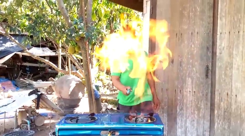 Beware! Cheap gas stoves may blow your house up. A local in Surin decided to make the story public after his house almost burned down from a brand new