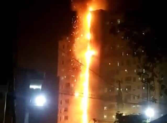 Blaze breaks out at casino building in Cambodia. At least two people were injured on Monday night when a big fire engulfed a 15-floor casino building in
