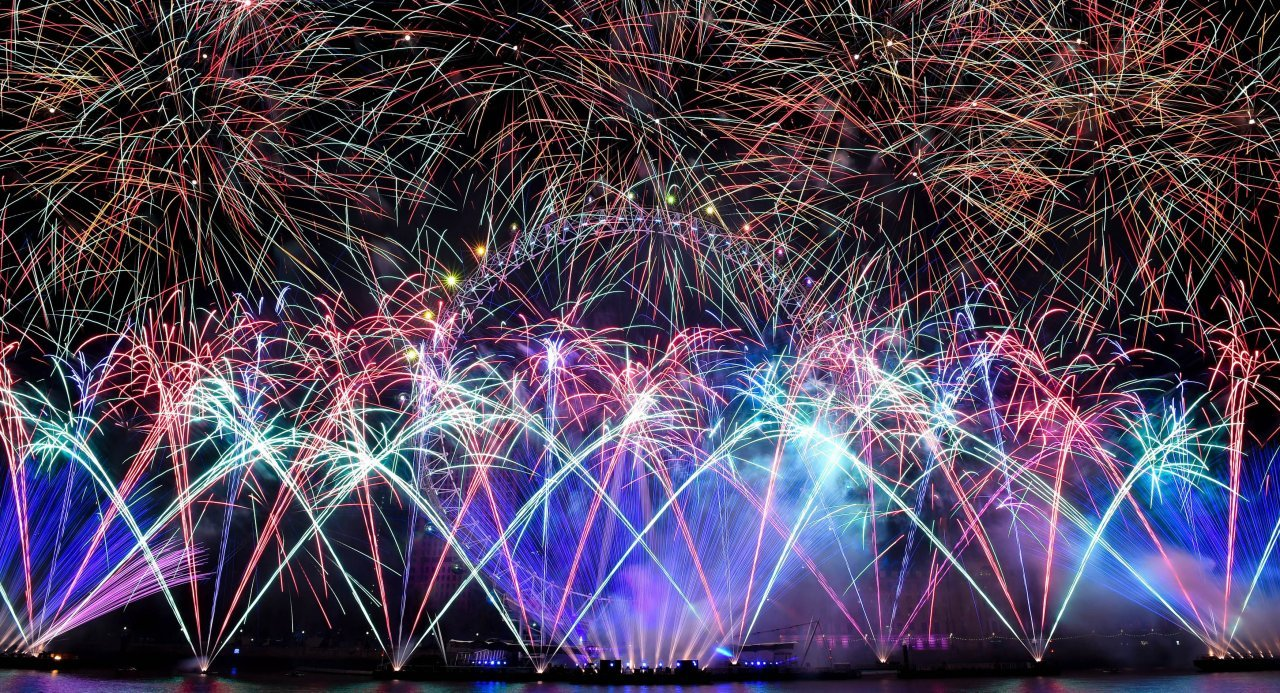 New Year's celebrations. Fireworks explode during New Year's celebrations around the world. New Year's celebrations. Fireworks explode during New Year's