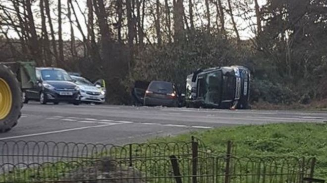Prince Philip unhurt in crash while driving. The Duke of Edinburgh has been involved in a car crash while driving near the Queen's Sandringham estate,