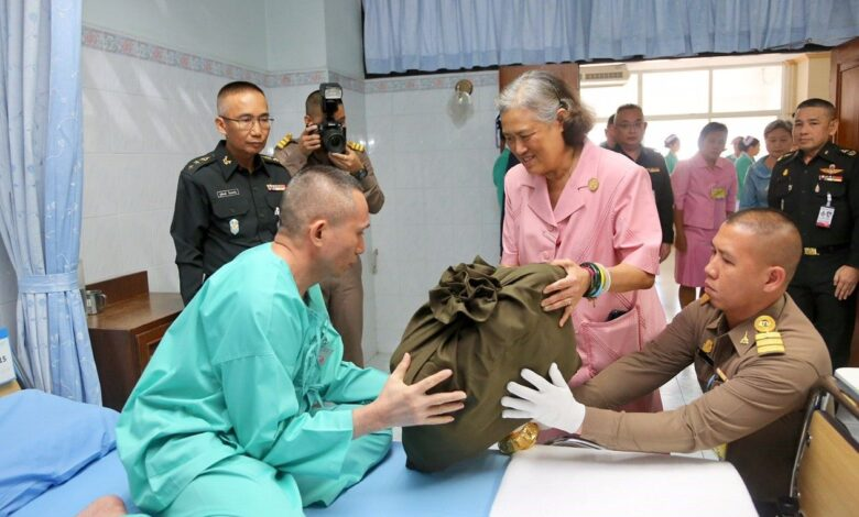 Princess boosts morale of wounded soldiers with New Year's Day visit to Phramongkutklao Hospital. HRH Princess Maha Chakri Sirindhorn graciously granted
