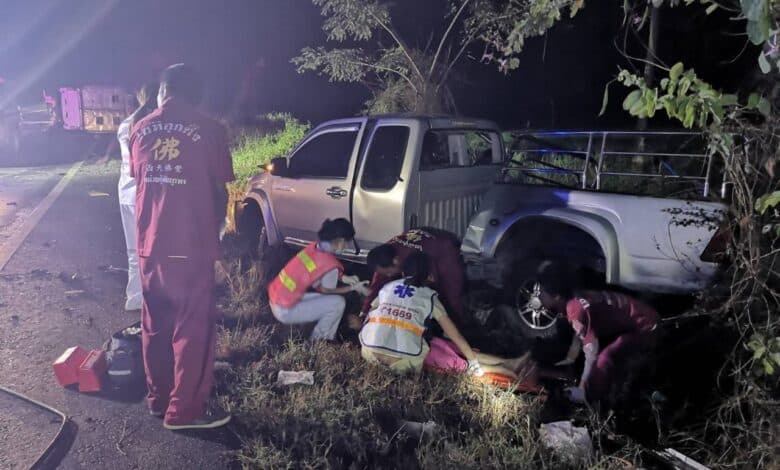 Two killed, six injured in head-on pickup crash in Phitsanulok. Two people were killed and six others injured when a pick-up truck delivering fighting cocks