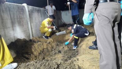 Bangkok man sought after wife's body found buried. Bangkok police are gathering evidence to apply for a court arrest warrant for a man whose wife