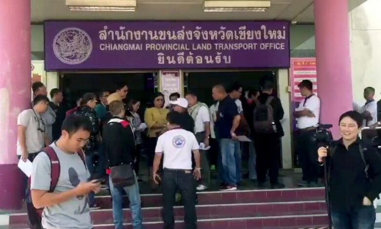 Chiang Mai public transport van drivers petition against GPS speed detectors, for higher speed limit. Some 50 representatives of Chiang Mai's public