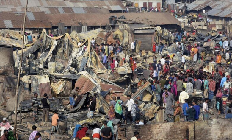 Fire sweeps through Bangladesh slum, killing nine. A fire tore through a slum in southern Bangladesh on Sunday killing at least 9 people