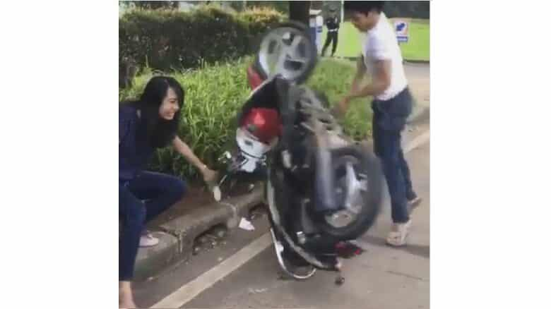 Motorcyclist throws tantrum after being ticketed. A motorcyclist went into a tantrum and destroyed his own motorbike on Thursday after