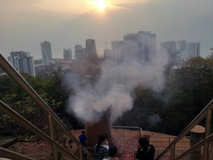 Pattayans gripe about smoke from incense, firecrackers. Pratamnak Hill residents are complaining that tourists lighting incense and setting off