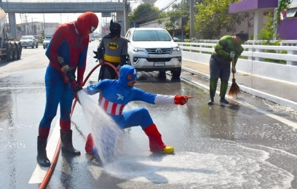 SUPERHEROES FIGHT GRIME, CLEAN NAKHON PATHOM STREETS. The people of Nakhon Pathom province can sleep soundly in the knowledge that a group of Marvel
