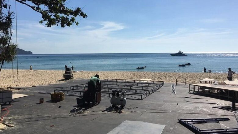 Stages, structures on Cherng Talay beach dismantled following complaint. A stage and other structures set up by a hotel on a beach in Cherng