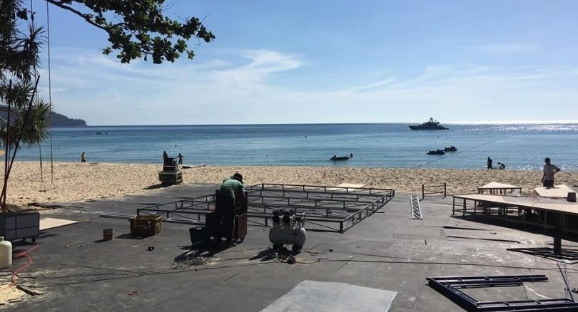 Stages, structures on Cherng Talay beach dismantled following complaint