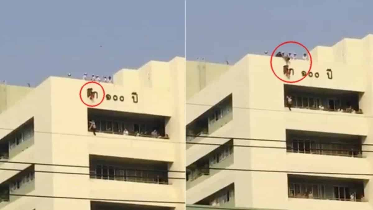Young girl saved by building's name sign in fall from hospital rooftop