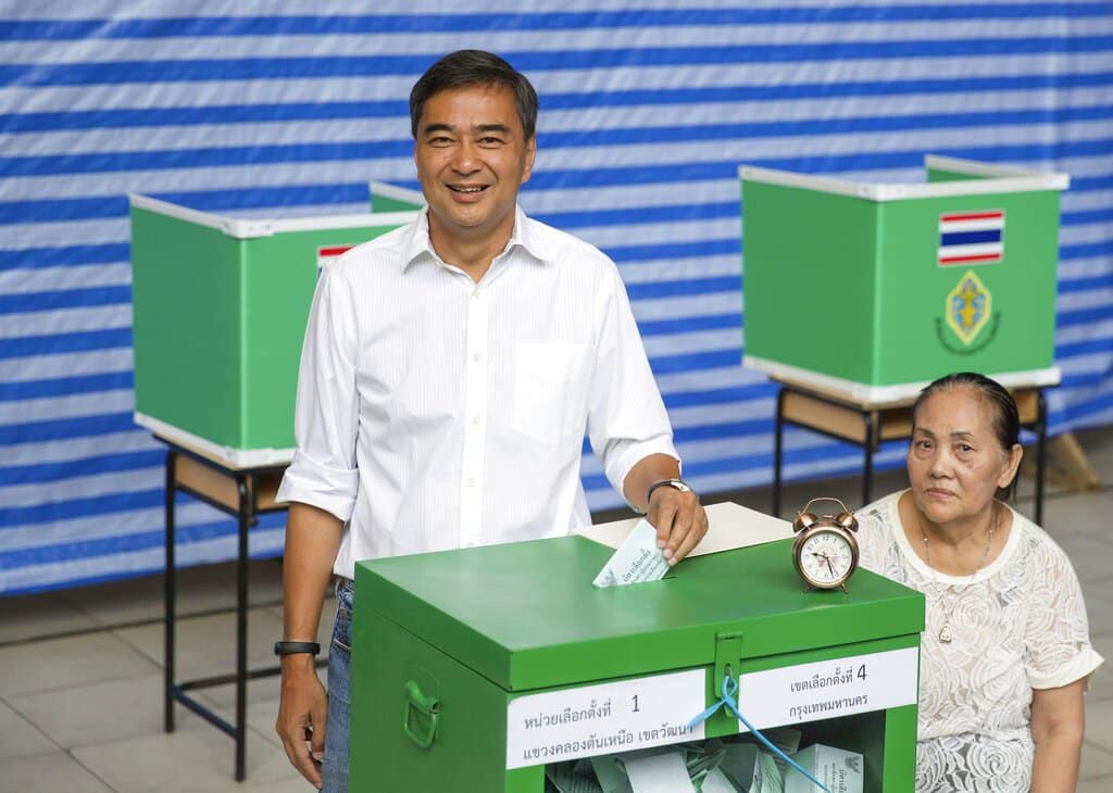 Abhisit Vejjajiva resigns as leader of Democrat Party. The Latest on Thailand's general election (all times local):10:20 p.m.The leader of